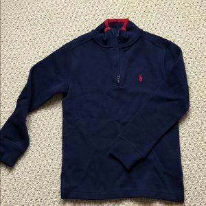 Polo Boys Sz 8 qtr zip. Navy with red trim